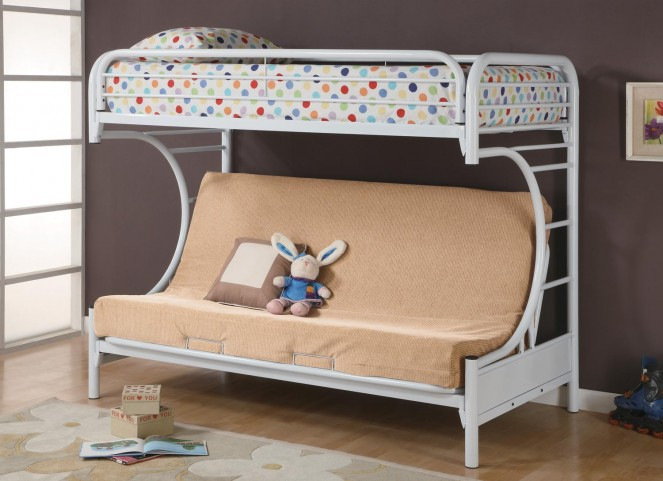 Fordham White n Over Twin Futon Bunk Bed