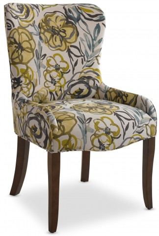 Miranda High Back Floral Linen Side Chair Set of 2