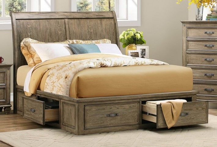 Sylvania Driftwood Queen Platform Storage Bed