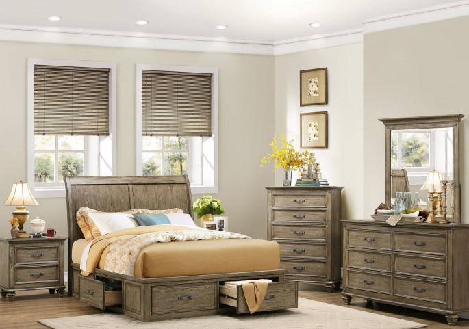 Sylvania Driftwood Platform Storage Bedroom Set
