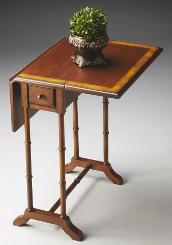 Masterpiece Olive Ash Burl Drop-Leaf Table