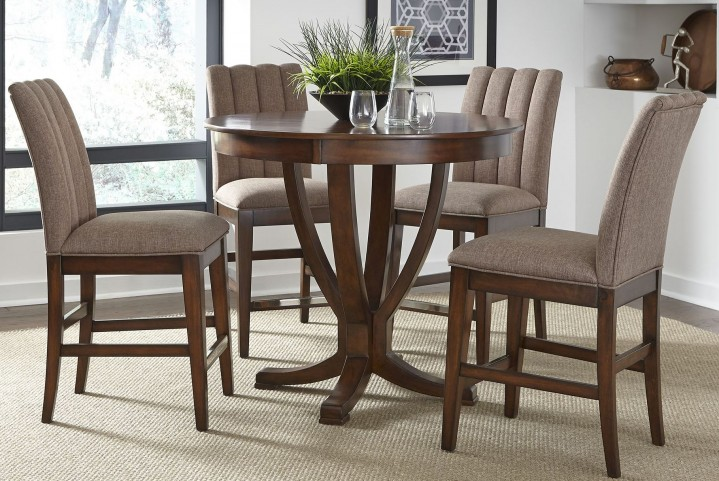 Mirage Cinnamon Counter Height Pedestal Dining Room Set