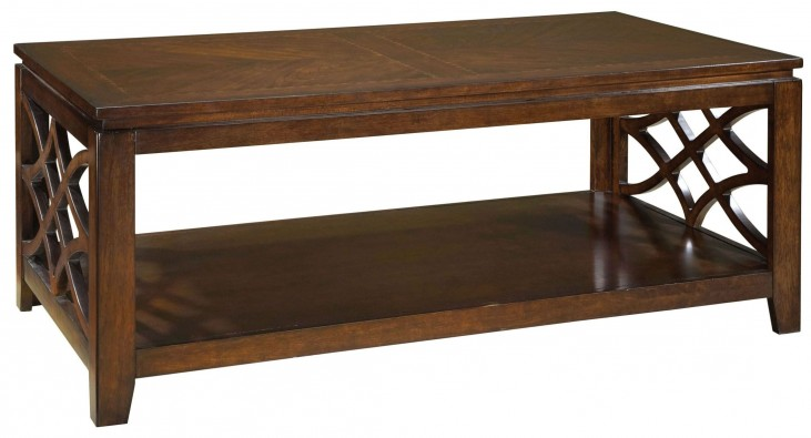 Woodmont Brown Cherry Stain Rectangle Cocktail Table