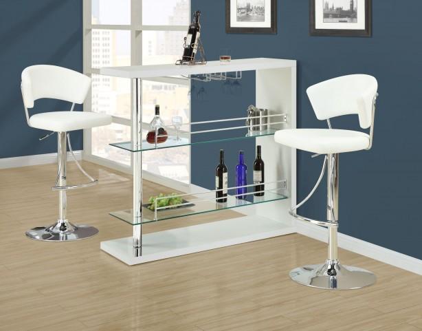 2350 White Glossy / Chrome Metal Bar Set