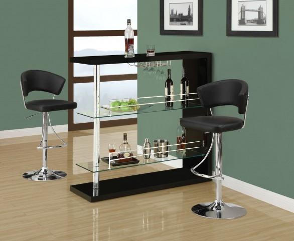 2351 Black Glossy / Chrome Metal Bar Set