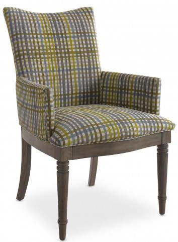Open Seating Grey Oak Kate Plaid Arm Chair