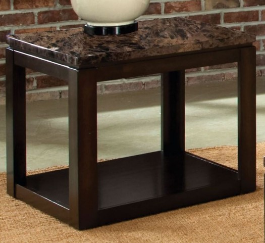 Bella Warm Chocolate Marbella Top Cherry End Table