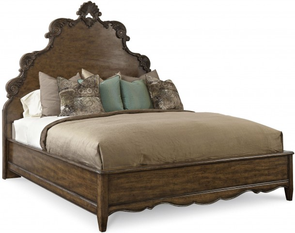 Continental Weathered Nutmeg Queen Panel Bed