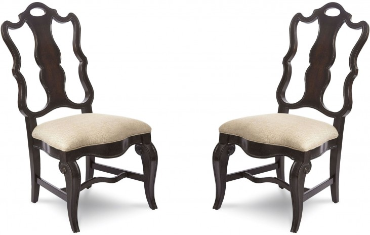 Continental Vintage Melange Splat Back Side Chair Set of 2
