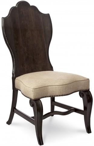 Continental Vintage Melange Wood Back Side Chair Set of 2