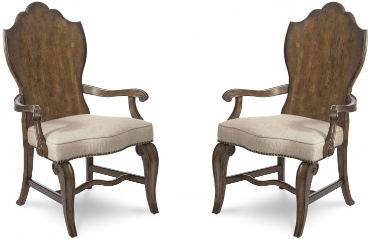 Continental Weathered Nutmeg Wood Back Arm Chair Set of 2