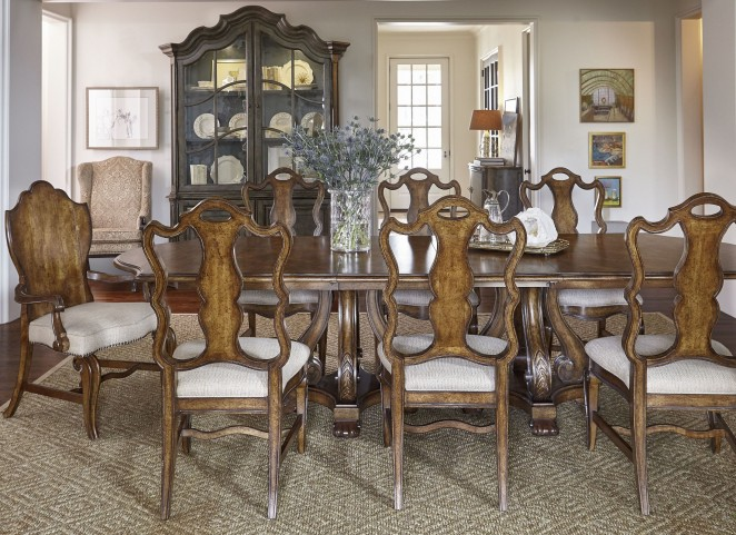 Continental Weathered Nutmeg Double Pedestal Dining Room Set
