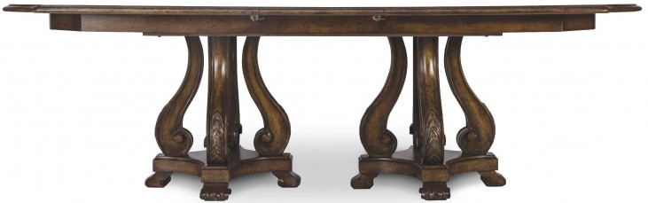 Continental Weathered Nutmeg Double Pedestal Dining Table