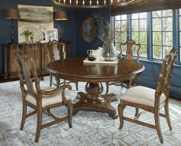 Continental Weathered Nutmeg Round Dining Room Set
