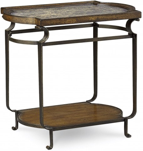 Continental Weathered Nutmeg Glazed Rectangular End Table