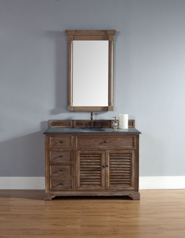 "Savannah 48"" Driftwood Single Vanity With 2Cm Black Granite Top"