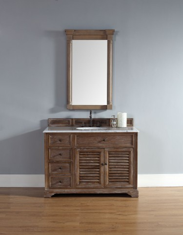 "Savannah 48"" Driftwood Single Vanity With 2Cm Carerra White Marble Top"