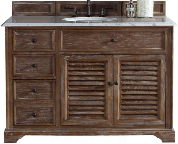 "Savannah 48"" Driftwood Single Vanity With 2Cm Carerra White Marble Top"