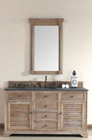 "Savannah 60"" Driftwood Single Vanity With 2Cm Black Granite Top"