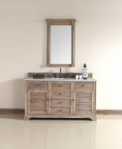 "Savannah 60"" Driftwood Single Vanity With 2Cm Carerra White Marble Top"