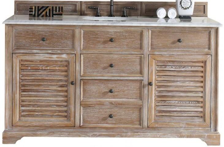 "Savannah 60"" Driftwood Single Vanity With 2Cm Carerra White Marble Top"