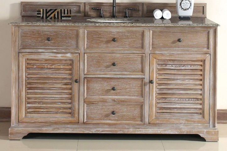 "Savannah 60"" Driftwood Single Vanity With 2Cm Santa Cecilia Granite Top"