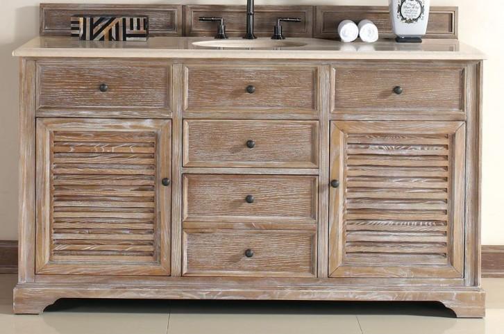 """Savannah 60"""" Driftwood Single Vanity With 2Cm Galala Beige Marble Top"""