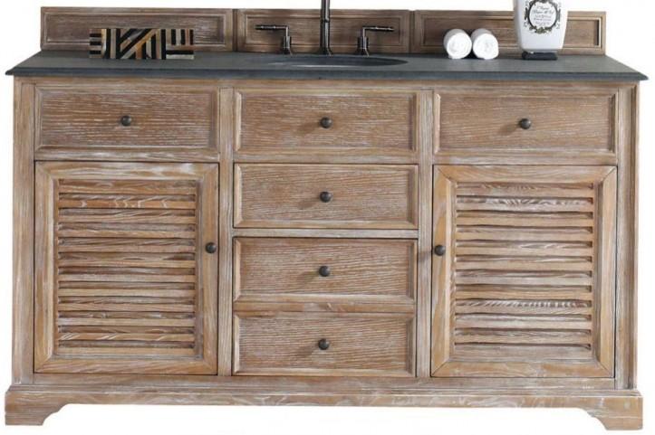 """Savannah 60"""" Driftwood Single Vanity With 2Cm Black Granite Top"""