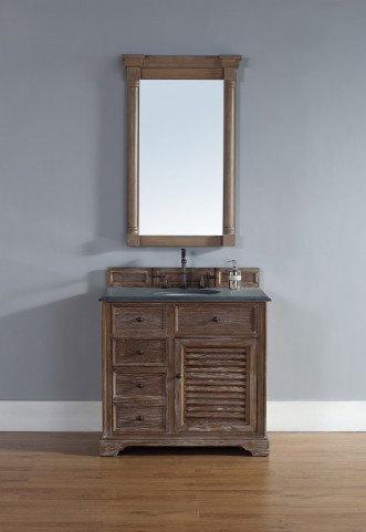 "Savannah 36"" Driftwood Single Vanity With 2Cm Black Granite Top"