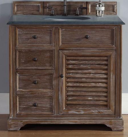 """Savannah 36"""" Driftwood Single Vanity With 2Cm Black Granite Top"""