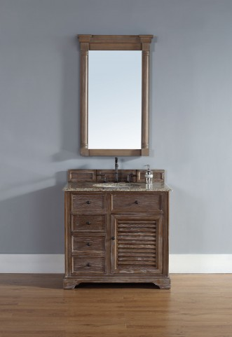 "Savannah 36"" Driftwood Single Vanity With 2Cm Santa Cecilia Granite Top"