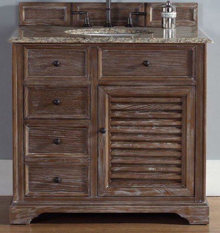 "Savannah 36"" Driftwood Single Vanity With 2Cm Santa Cecilia Granite Top"