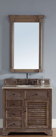"Savannah 36"" Driftwood Single Vanity With 2Cm Galala Beige Marble Top"