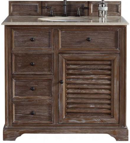 """Savannah 36"""" Driftwood Single Vanity With 2Cm Galala Beige Marble Top"""