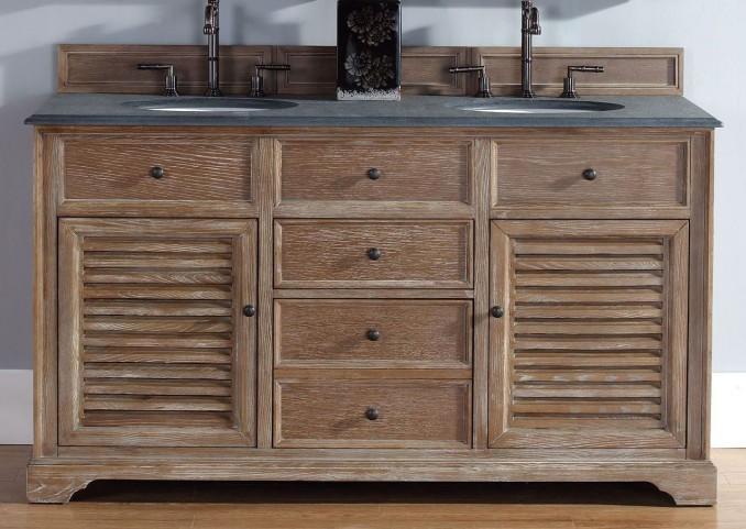 """Savannah 60"""" Driftwood Double Vanity With 2Cm Black Granite Top"""