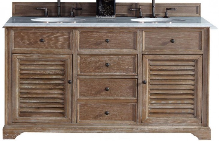 "Savannah 60"" Driftwood Double Vanity With 2Cm Carerra White Marble Top"