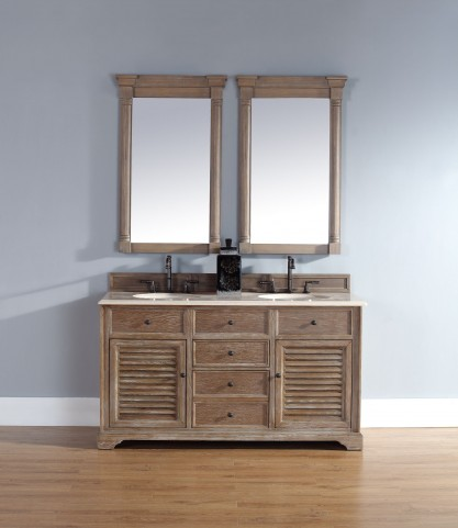 "Savannah 60"" Driftwood Double Vanity With 2Cm Galala Beige Marble Top"