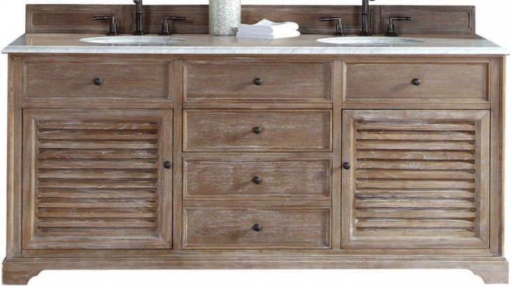 """Savannah 72"""" Driftwood Double Vanity With 2Cm Carerra White Marble Top"""