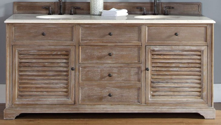 "Savannah 72"" Driftwood Double Vanity With 2Cm Galala Beige Marble Top"