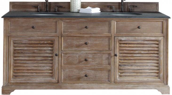 """Savannah 72"""" Driftwood Double Vanity With 2Cm Black Granite Top"""