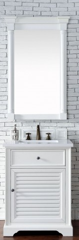 "Savannah 26"" Cottage White Single Vanity With 3Cm Snow White Quartz Top"