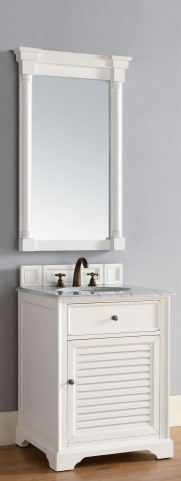 "Savannah 26"" Cottage White Single 2CM Top Vanity Set"