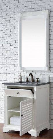 "Savannah 26"" Cottage White Single Vanity With 3Cm Shadow Gray Quartz Top"