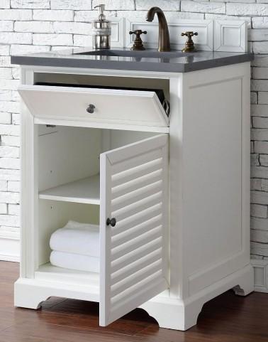 "Savannah 26"" Cottage White Single Vanity With 3Cm Shadow Gray Quartz Top"
