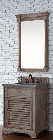"Savannah 26"" Driftwood Single Vanity With 3Cm Shadow Gray Quartz Top"
