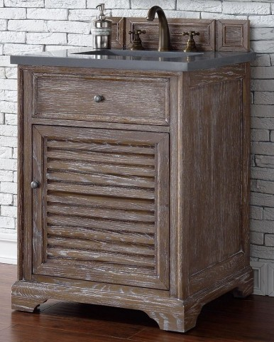 "Savannah 26"" Driftwood Single Vanity With 3Cm Shadow Gray Quartz Top"