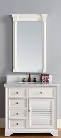 "Savannah 36"" Cottage White Single 4CM Top Vanity Set"