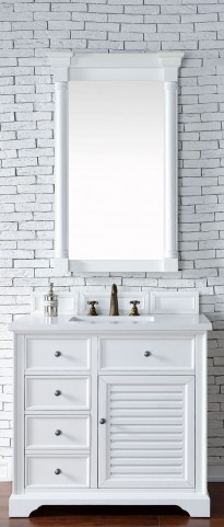 "Savannah 36"" Cottage White Single Vanity With 3Cm Snow White Quartz Top"