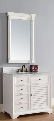 "Savannah 36"" Cottage White Single 2CM Top Vanity Set"