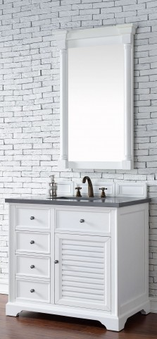 "Savannah 36"" Cottage White Single Vanity With 3Cm Shadow Gray Quartz Top"